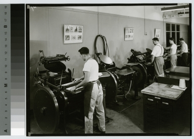 Students at printing machines, Department of Publishing and Printing, Rochester Institute of Technology