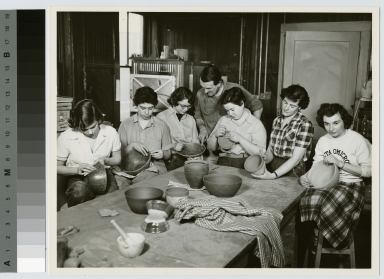 Students work on pottery bowls, School for American Craftsmen, Rochester Institute of Technology