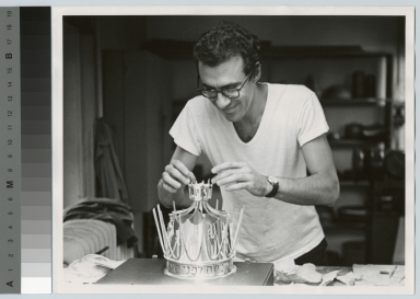 Student Bernard Bernstein crafting silver crown, School for American Craftsmen, Rochester Institute of Technology