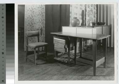 Desk at America House exhibit, New York City, School for American Craftsmen, Rochester Institute of Technology