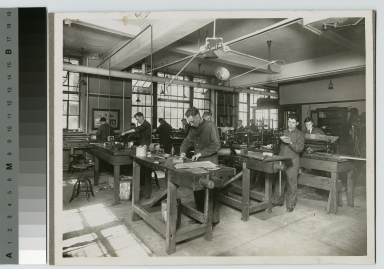 World War I soldiers learn in machine shop, Rochester Athenaeum and Mechanics Institute