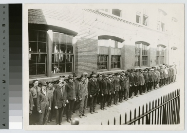 World War I veterans line up, Manual Training Building, Rochester Athenaeum and Mechanics Institute