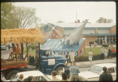"Spring Weekend parade floats in the theme of ""Storybookland,"" Rochester Institute of Technology, 1959"