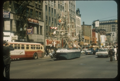 Spring weekend float, the USS Constitution, Rochester Institute of Technology, 1962