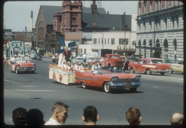 "Floats in the Rochester Institute of Technology's 1960 spring weekend parade in the theme of ""Songs of Spring."""