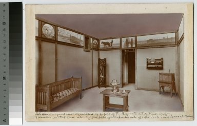 Interior of a room designed and decorated by pupils of the Department of Fine Arts, Rochester Athenaeum and Mechanics Institute