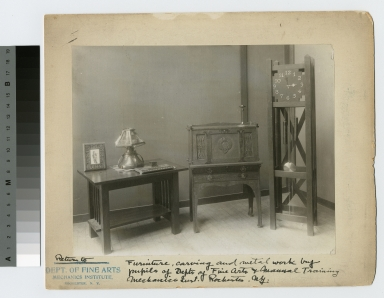 Furniture, carving and metalwork by pupils of Depts. of Fine Arts and Manual Training, Mechanics Inst. Rochester, New York