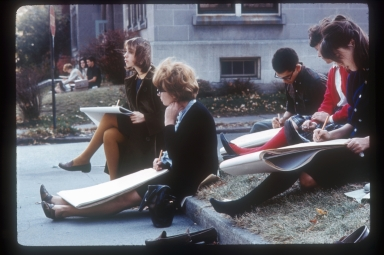 Art students outside, drawing from life, Rochester Institute of Technology