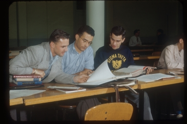 Three students studying, Rochester Institute of Technology
