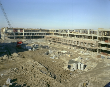 Construction on James E. Booth Hall and Frank E. Gannett Hall