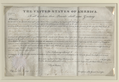 John Quincy Adams signed sale of land