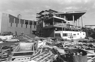 Side View of Construction of the Kilian J. and Caroline F. Schmitt Interfaith Center