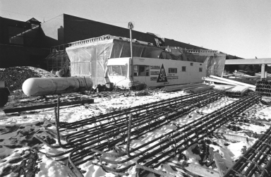 Construction of Interfaith Center Covered in Snow