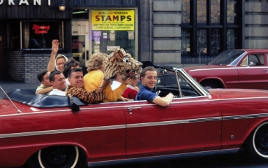 David Page and other students cruising in a convertible