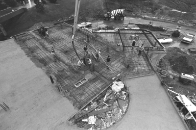 Elevated View of Pouring Concrete at the Kilian J. and Caroline F. Schmitt Interfaith Center Construction Site