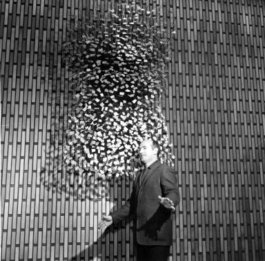 Harry Bertoia with his Sculpture