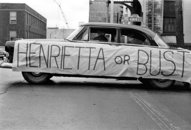 Henrietta or Bust Car on Washington Street