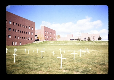Makeshift graveyard set up on hill next to Wallace Library