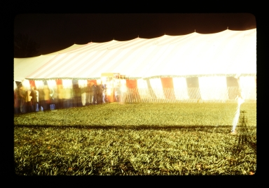 Outside of an event tent