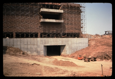 Concrete entrance and scaffolding
