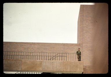 Unidentified student on stairway