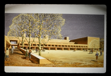 Concept painting of campus buildings