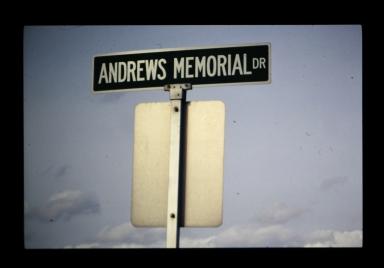 Andrews Memorial Drive road sign