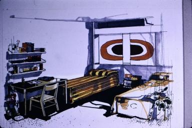 Artist sketch of dormitory room