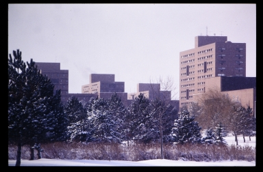 Campus buildings in winter