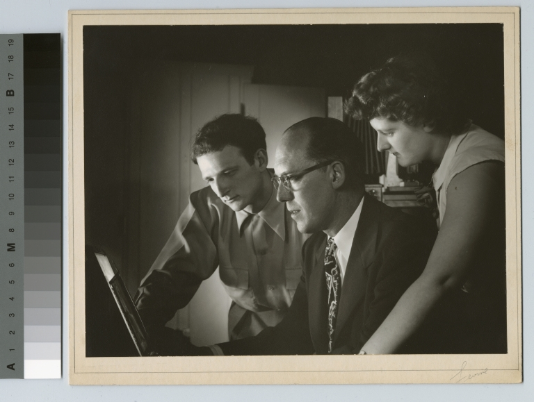 Faculty and students examine photo negative, Department of Photographic Technology, Rochester Institute of Technology