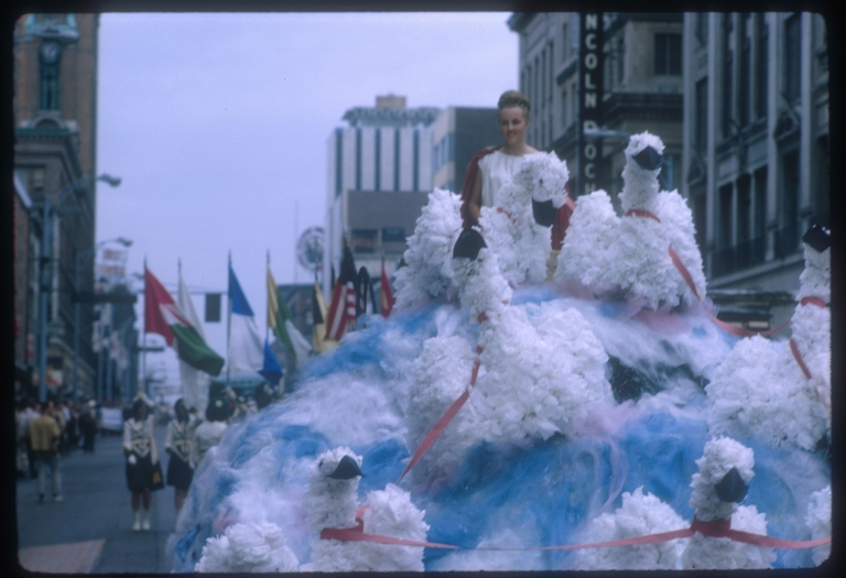"""Spring Weekend parade float in the theme of """"Hellenic Holiday,"""" Rochester Institute of Technology, 1964"""
