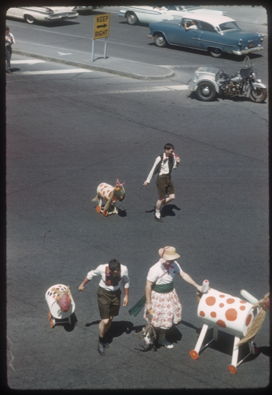 """Spring Weekend parade in the theme of """"Songs of Spring,"""" Rochester Institute of Technology, 1960"""