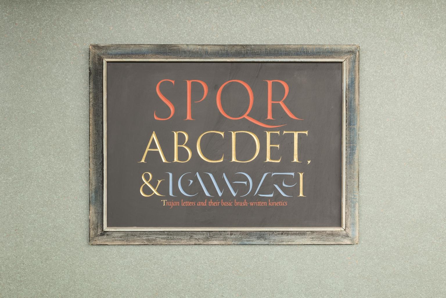 Trajan letters and their basic brush written kinetics