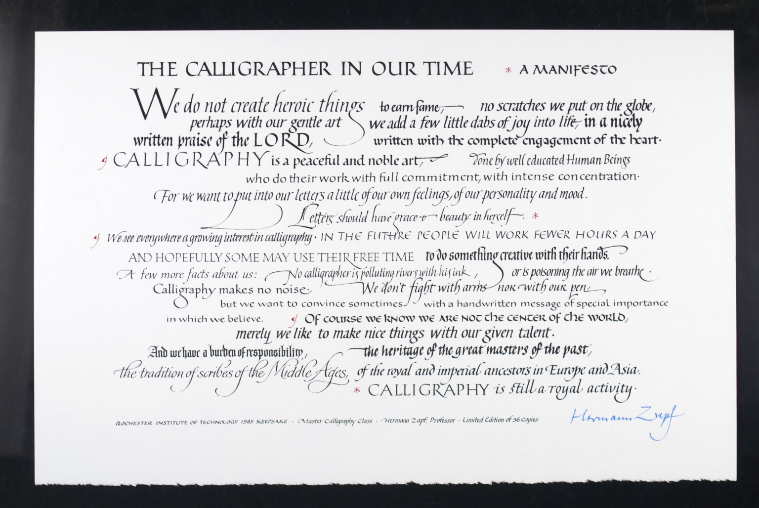 The Calligrapher In Our Time, A Manifesto