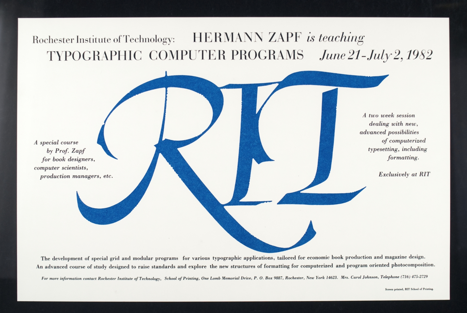 Hermann Zapf is Teaching Typographic Computer Programs, June 21-July 2, 1982
