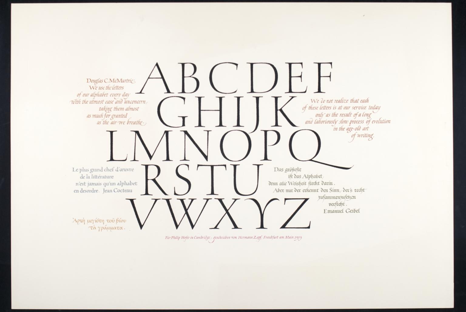 Alphabet calligraphic quotes