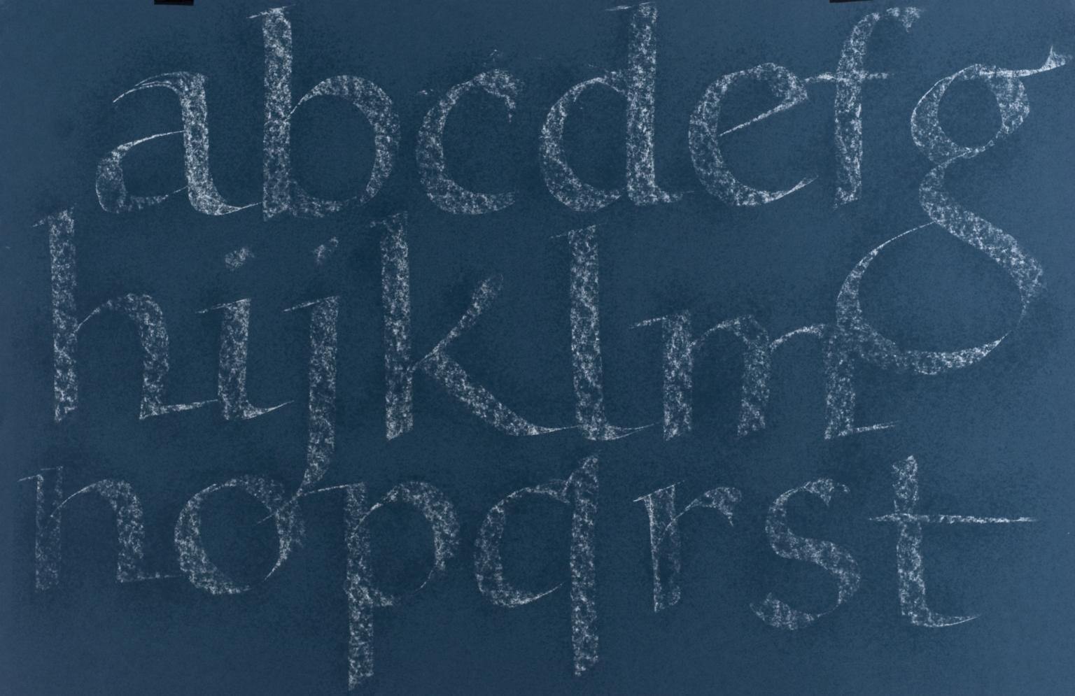 Calligraphic teaching sheet, lowercase alphabet