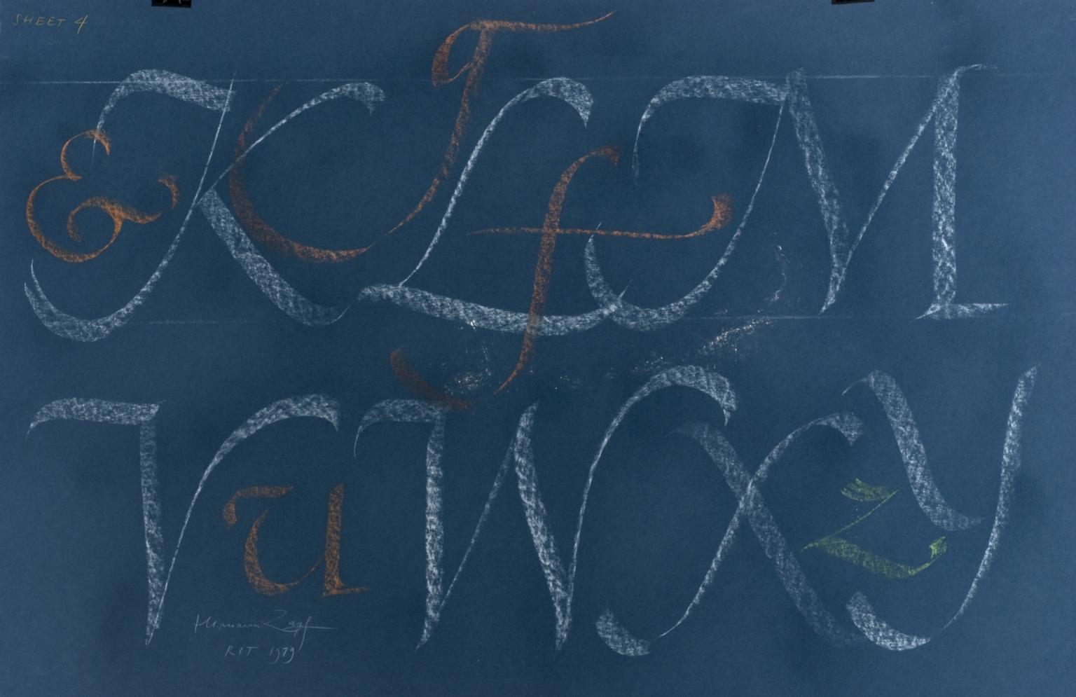 Calligraphic teaching sheet, KLM VWXY