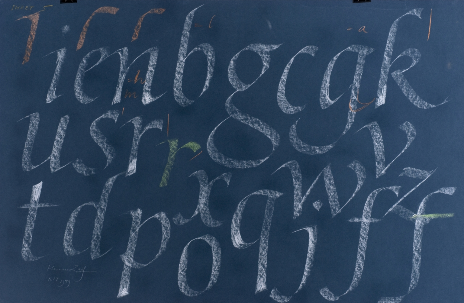 Calligraphic teaching sheet, lowercase italic letters