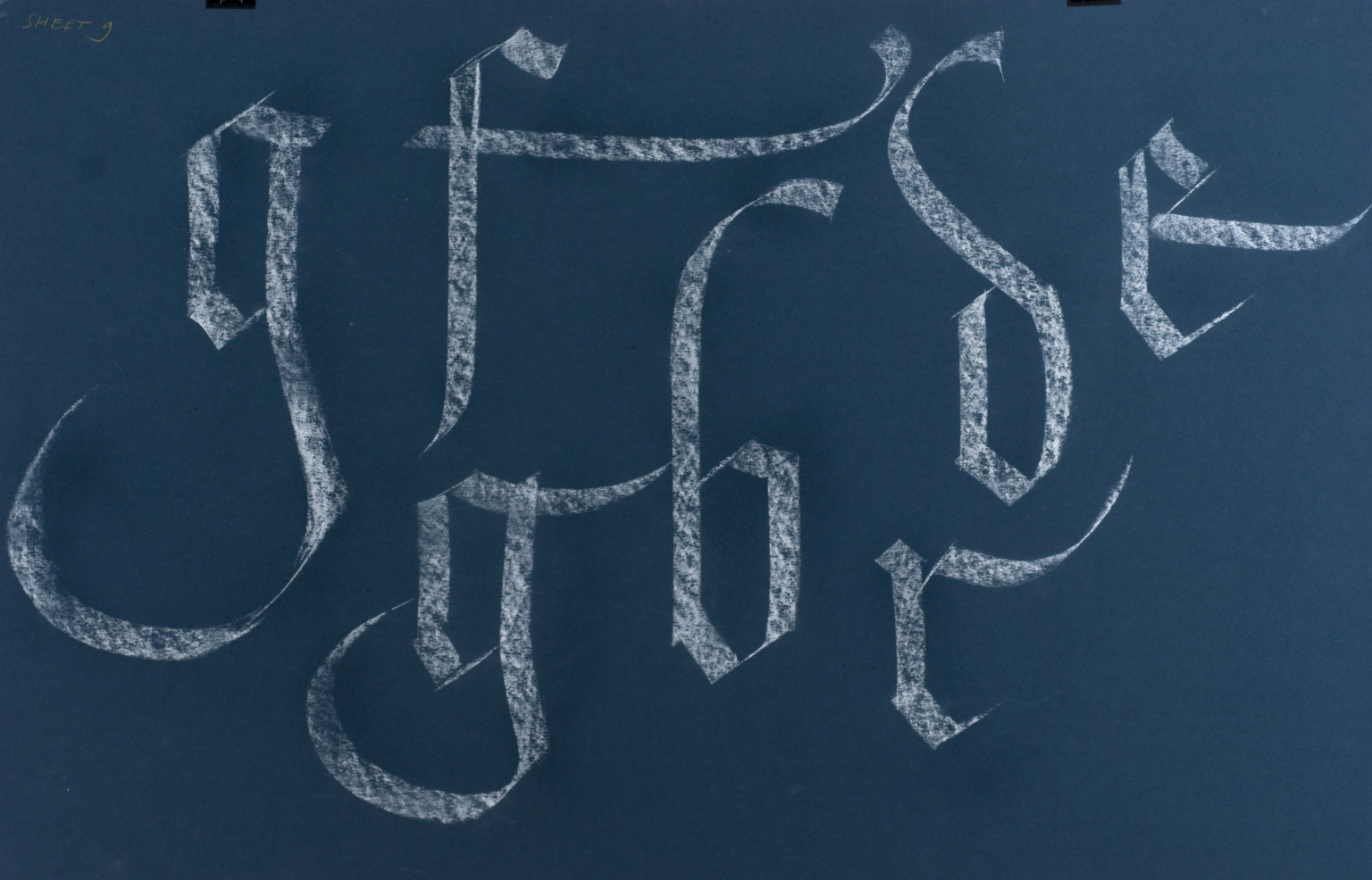 Calligraphic teaching sheet, lowercase textura swash letters