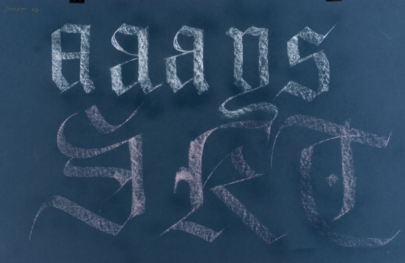 Calligraphic teaching sheet, textura letters