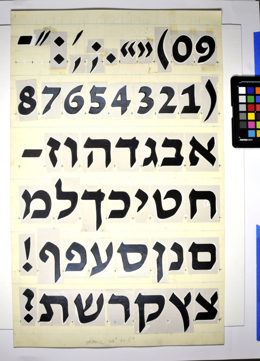 Redrawings of the David Hebrew typeface for dry transfer lettering: book style, bold weight.