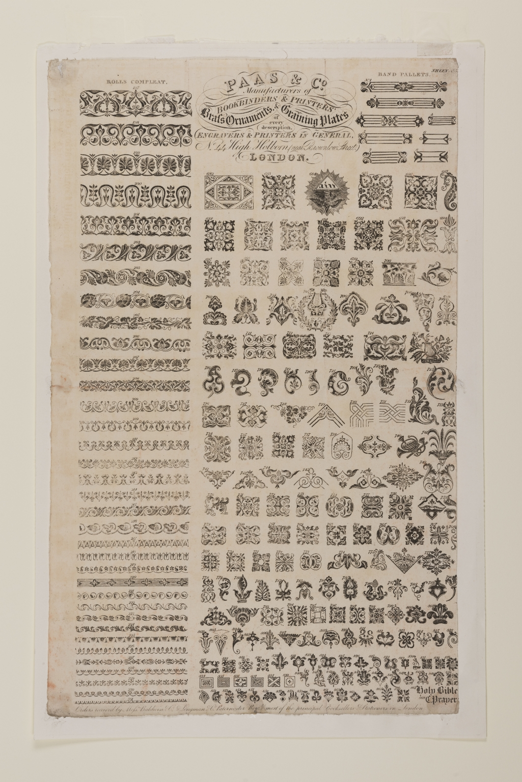 Paas & Co.: manufacturers of bookbinders' & printers' brass ornaments & graining plates of every description: engravers and printers in general