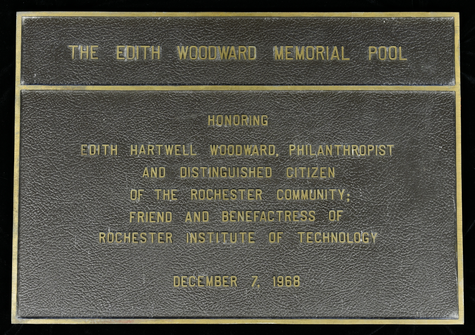 Edith Woodward pool plaque