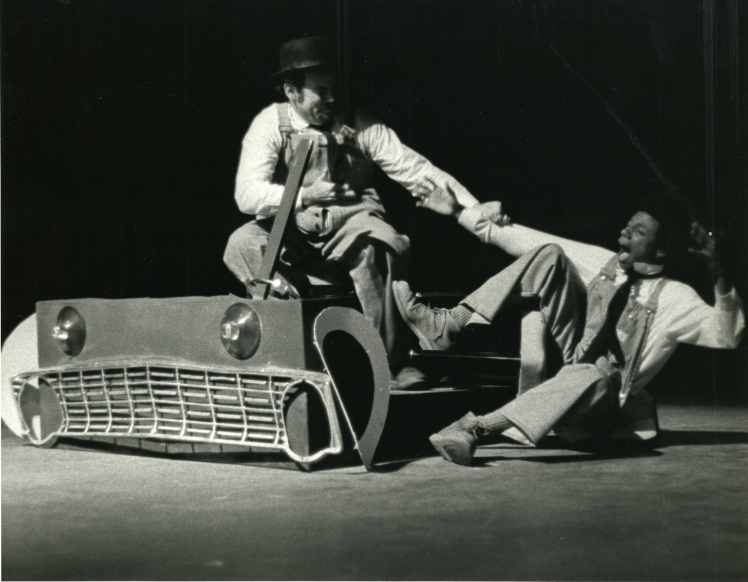 Nolan onstage in Laurel and Hardy