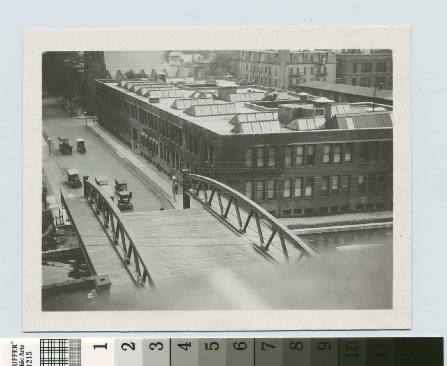 Plymouth Avenue Bridge over Erie Canal with Eastman Building of Rochester Athenaeum and Mechanics Institute in background