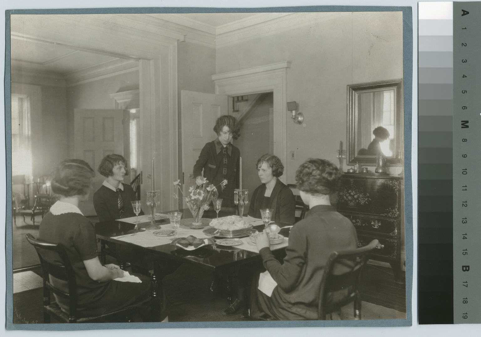 Students serving food, Practice House, Rochester Athenaeum and Mechanics Institute