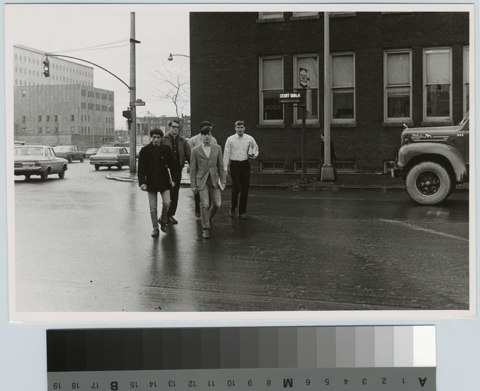 Students crossing Broad Street, Downtown Campus, Rochester Institute of Technology