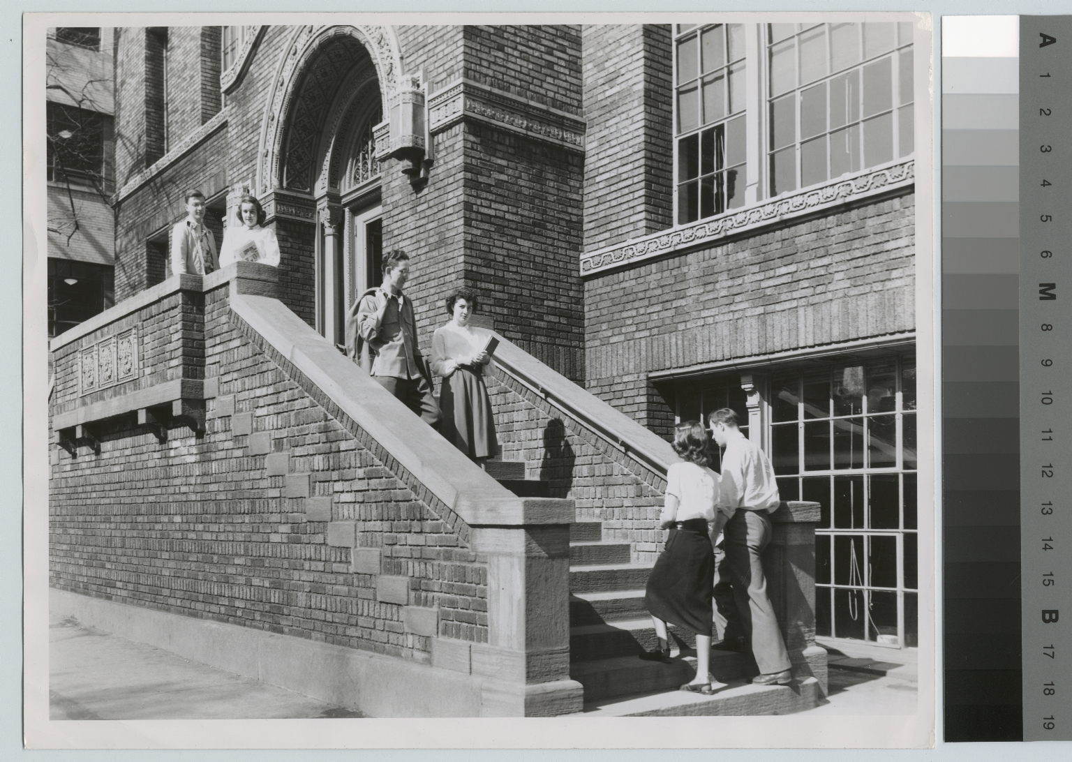Students, entrance to Bevier Building, Rochester Institute of Technology