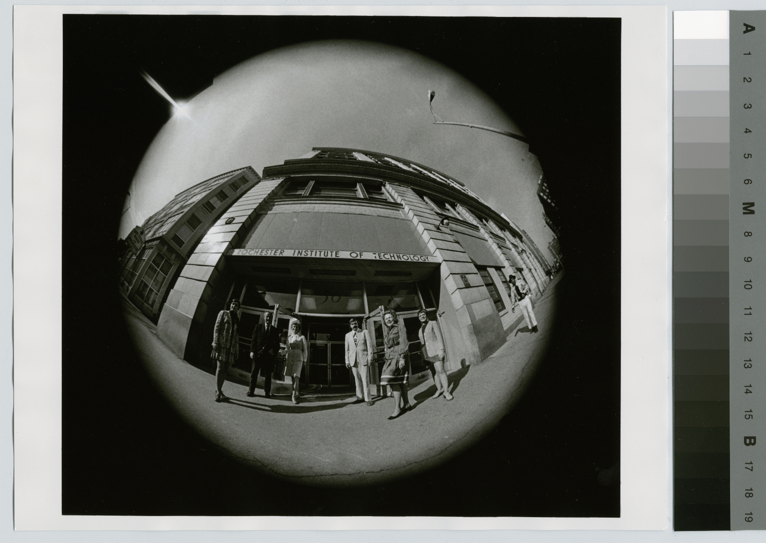 Fisheye lens photograph for invitation, open house, Rochester Institute of Technology